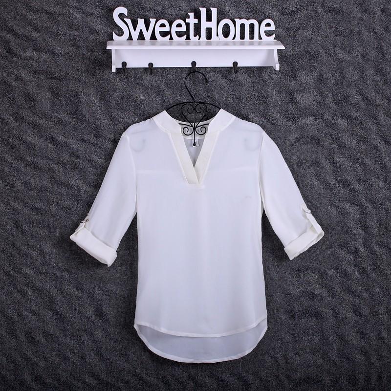 HTB12R3mKpXXXXX1aXXXq6xXFXXXF - Chiffon Blouse Shirts Women's Long Sleeve V-Neck