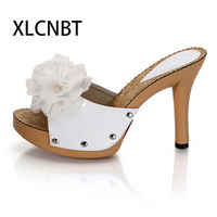 Sweet bowknot ladies' slipper supper high heels slides flower sexy ladies slipper summer outside fashion   shoes   white black high