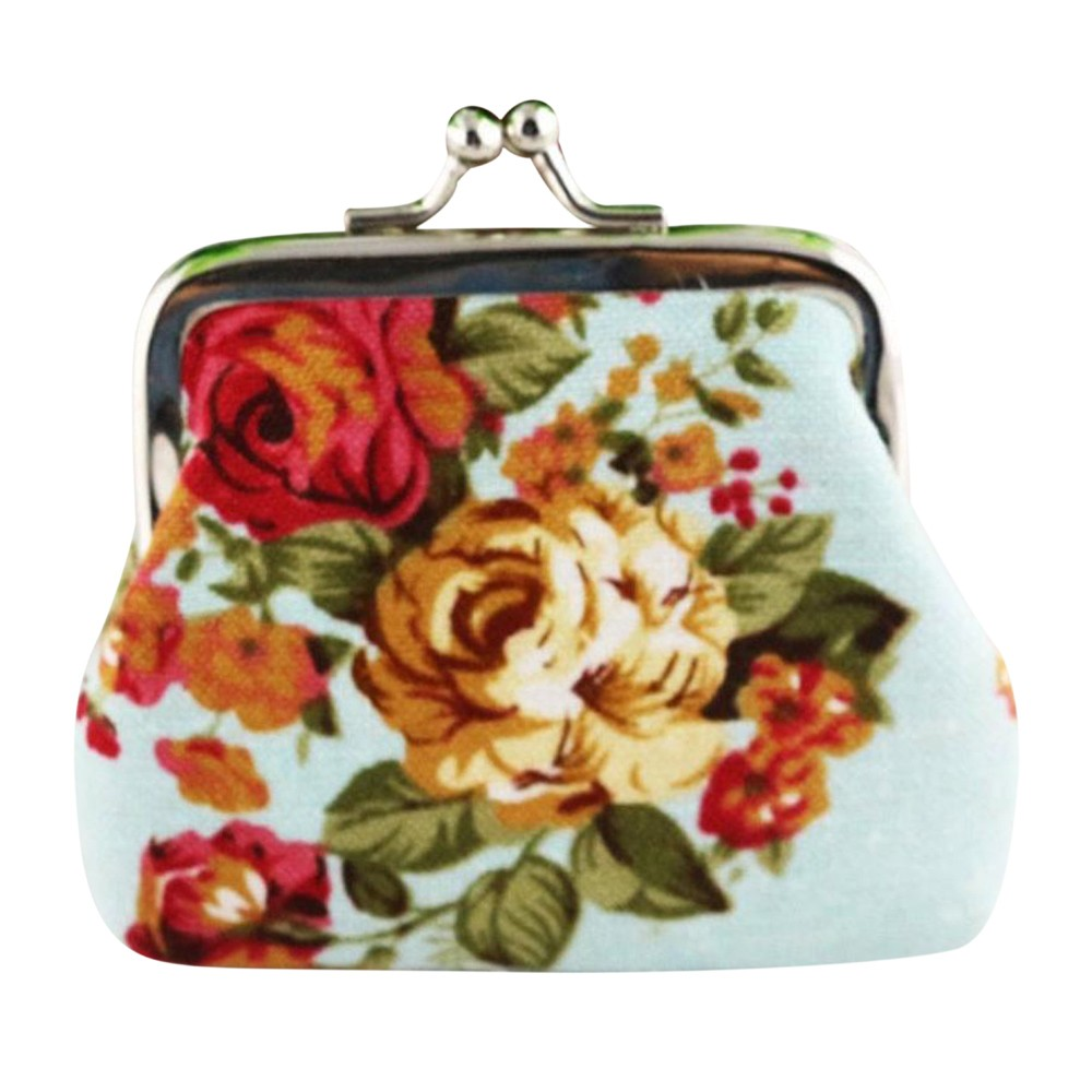 Women Coin Pouch Vintage Flower Printing Canvas Mini Wallet Small Fresh Hasp Clutch Purse Bag Monedero Mujer Para Monedas #9002