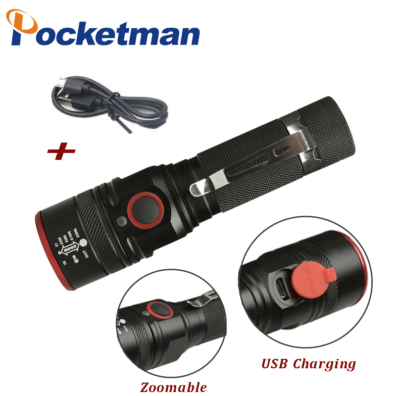 5200LM USB Rechargeable Flashlight XML-T6  Led Flashlight Zoomable 3 Modes Torch For 18650 With USB Cable Camping