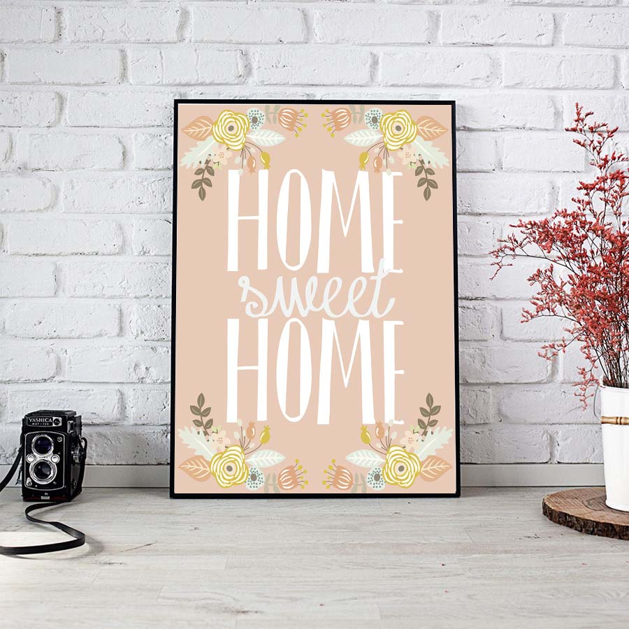 home sweet home quote canvas painting flower design art print poster abstract wall pictures for. Black Bedroom Furniture Sets. Home Design Ideas