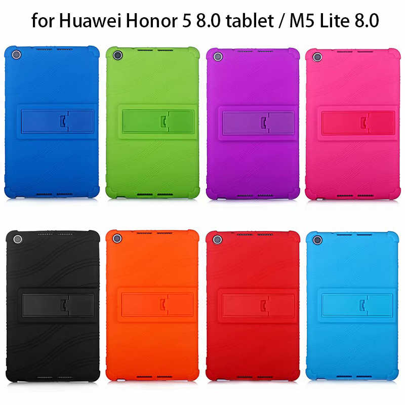"Sweety Silicone Case for Huawei Honor 5 8.0 Tablet Cover Mediapad M5 lite 8.0 Protector Stand Casing Honor Pad 5 8"" Shell"