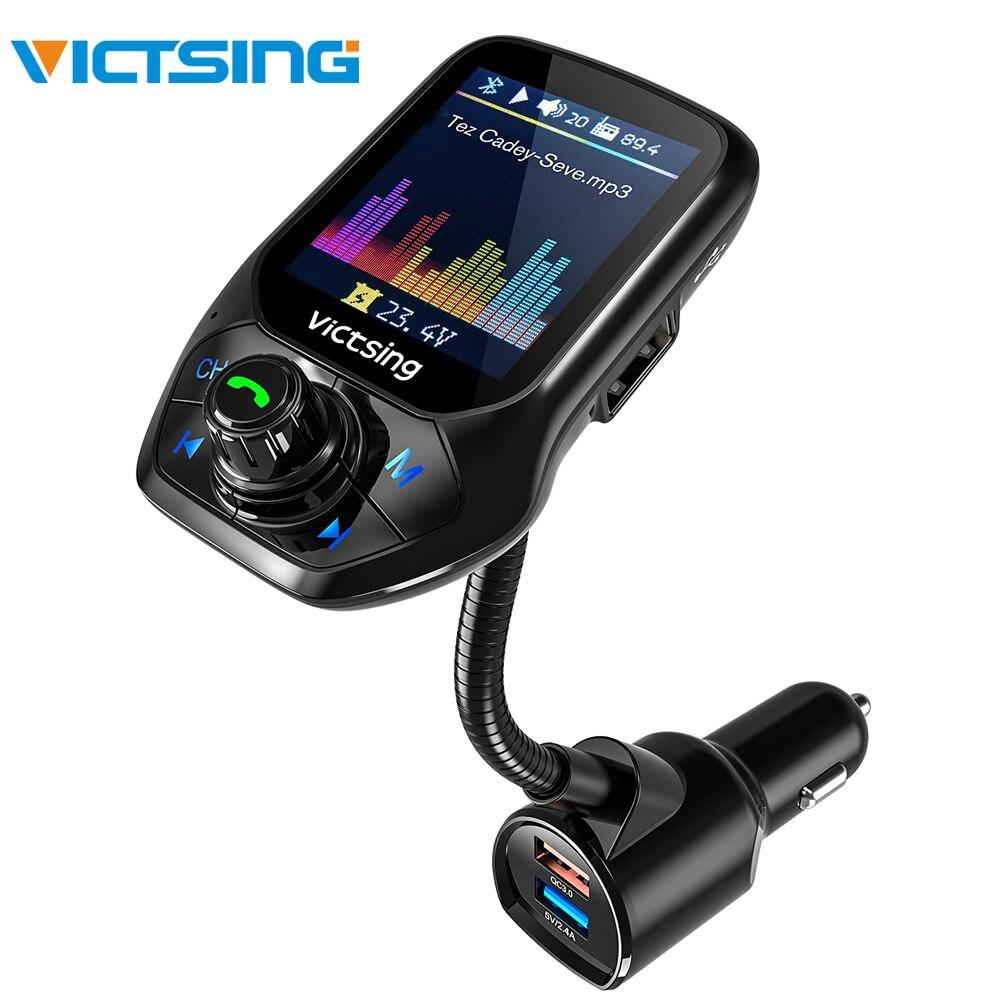 VicTsing FM Bluetooth Sender Radio Adapter Auto Freisprechen 3 USB Port mit QC3.0 Schnelle Ladung Sender FM Modul