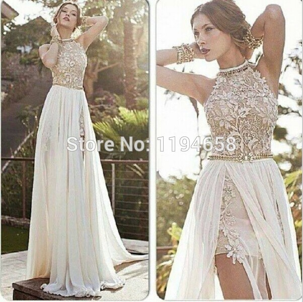 Popular High Low Prom Lace Dress White-Buy Cheap High Low Prom ...