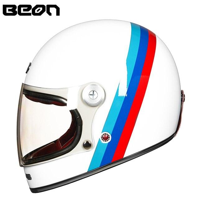 Мотоциклетный шлем BEON, полностью из стекловолокна, винтажный, ультралегкий, в стиле ретро, для езды на мотоцикле