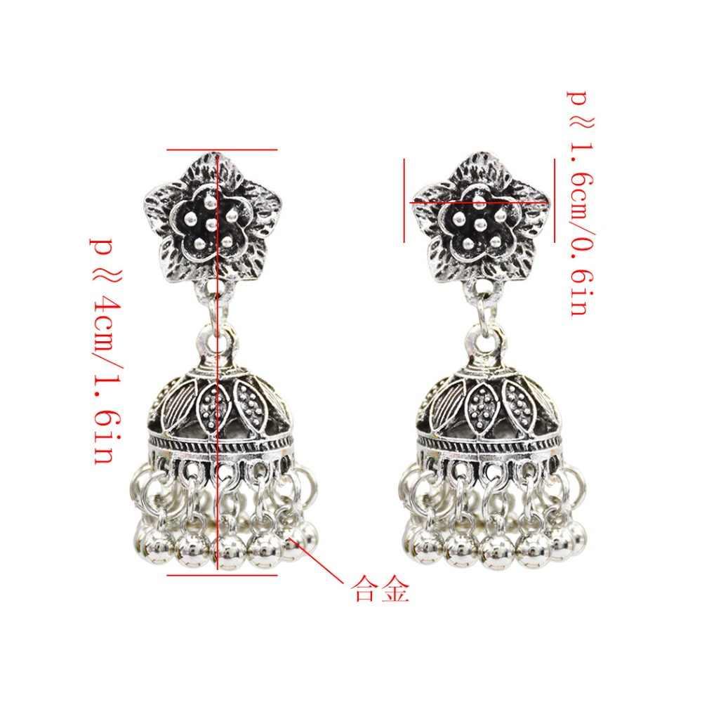 646166f62 ... Vintage Gold Silver Jhumka Earrings India Jewelry Flower Shape Bells  Statement Earring Party Turkish Gypsy Nepal ...