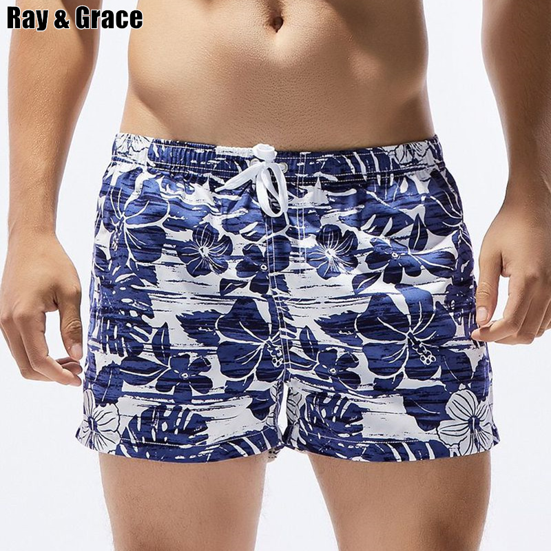 RAY GRACE Floral Print Men's Pocket Beach   Shorts   Quick Dry Swim   Shorts   Trunks Surfwear   Board     Shorts   For Men Summer