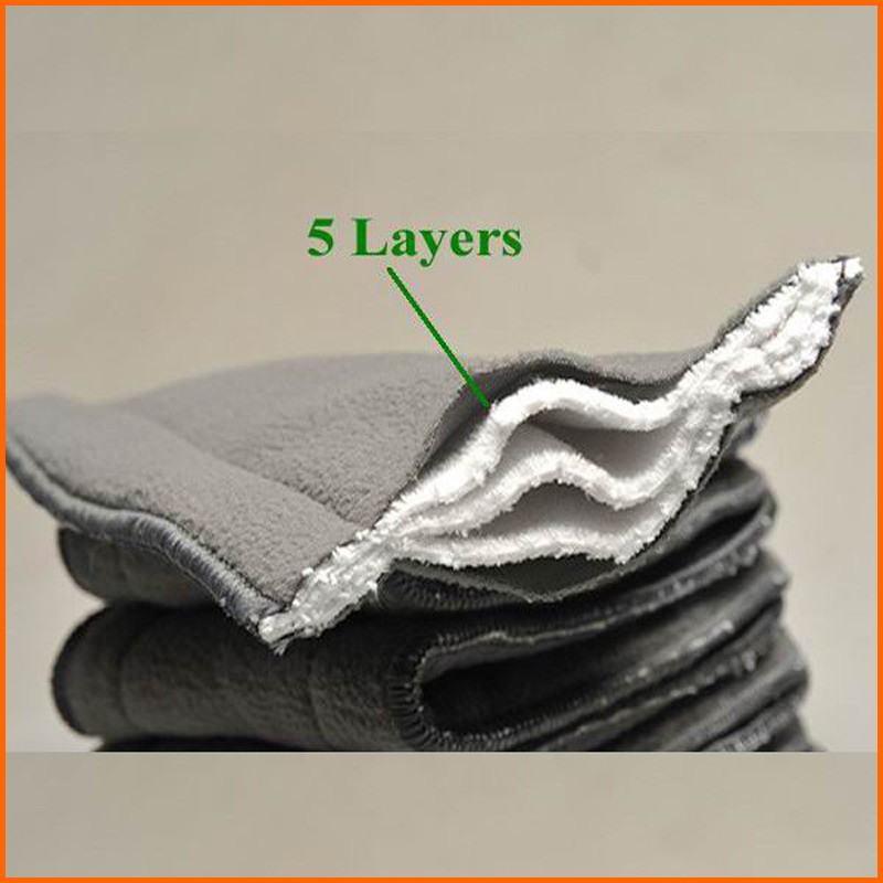 Free Shipping 100pcs/lot 100% Natural Bamboo Charcoal Fabric Diaper Inserts