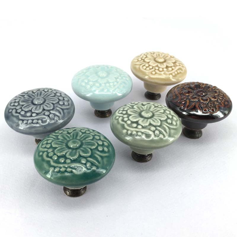 6PCS 44mm Ceramic Cabinet Drawer Knobs Kids Wardrobe Handles Furniture Dresser Closet Cupboard Vintage Porcelain Pulls