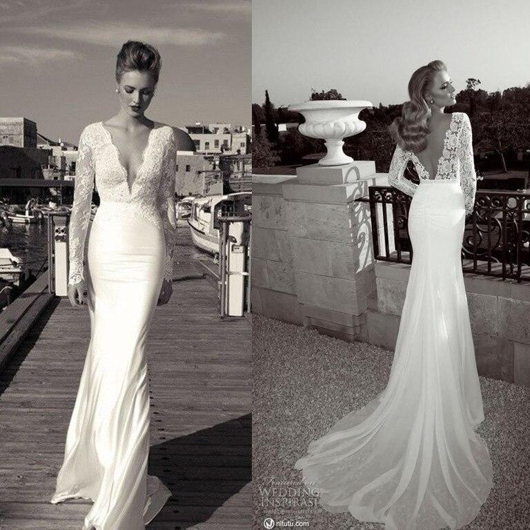 2014 hot new designer mermaid deep v neck long sleeve wedding dresses bridal gowns in wedding dresses from weddings events on aliexpresscom alibaba