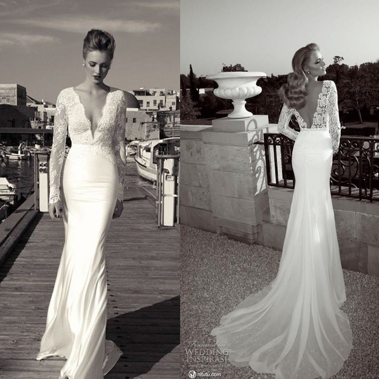 be9f5b97abf3 2014 Hot New Designer Mermaid Deep V neck Long Sleeve Wedding Dresses  Bridal Gowns-in Wedding Dresses from Weddings & Events on Aliexpress.com |  Alibaba ...