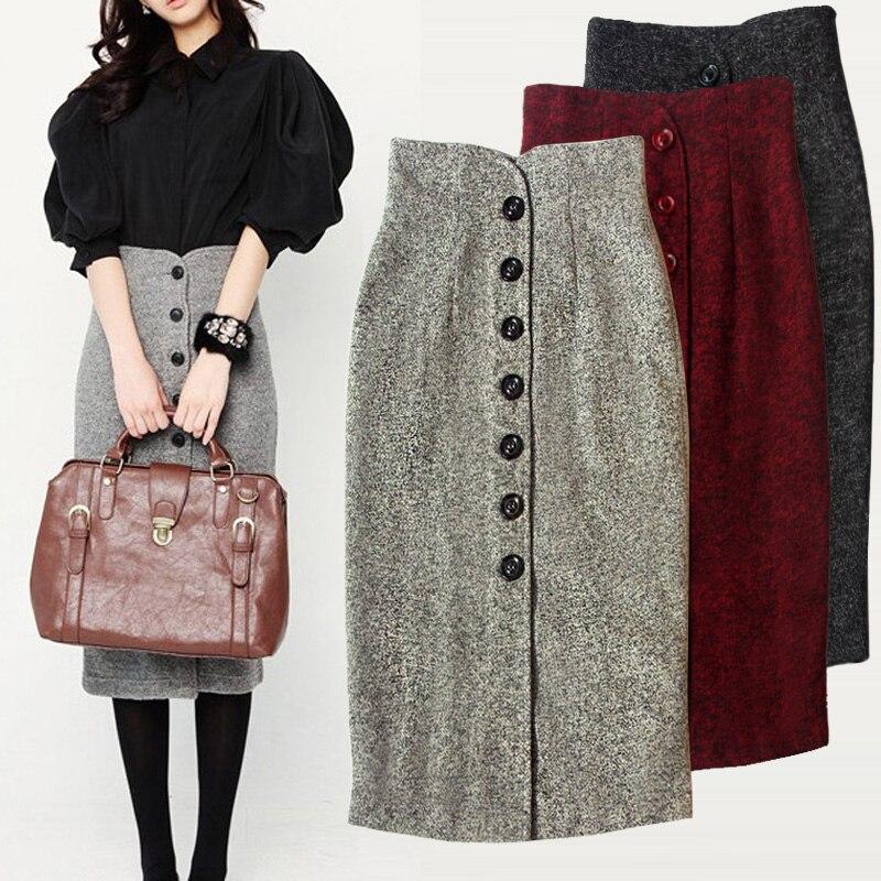 2017 automne hiver paquet jupe de hanche en laine jupes longues femmes jupe crayon femme bureau mi-mollet jupe épaisse TB058