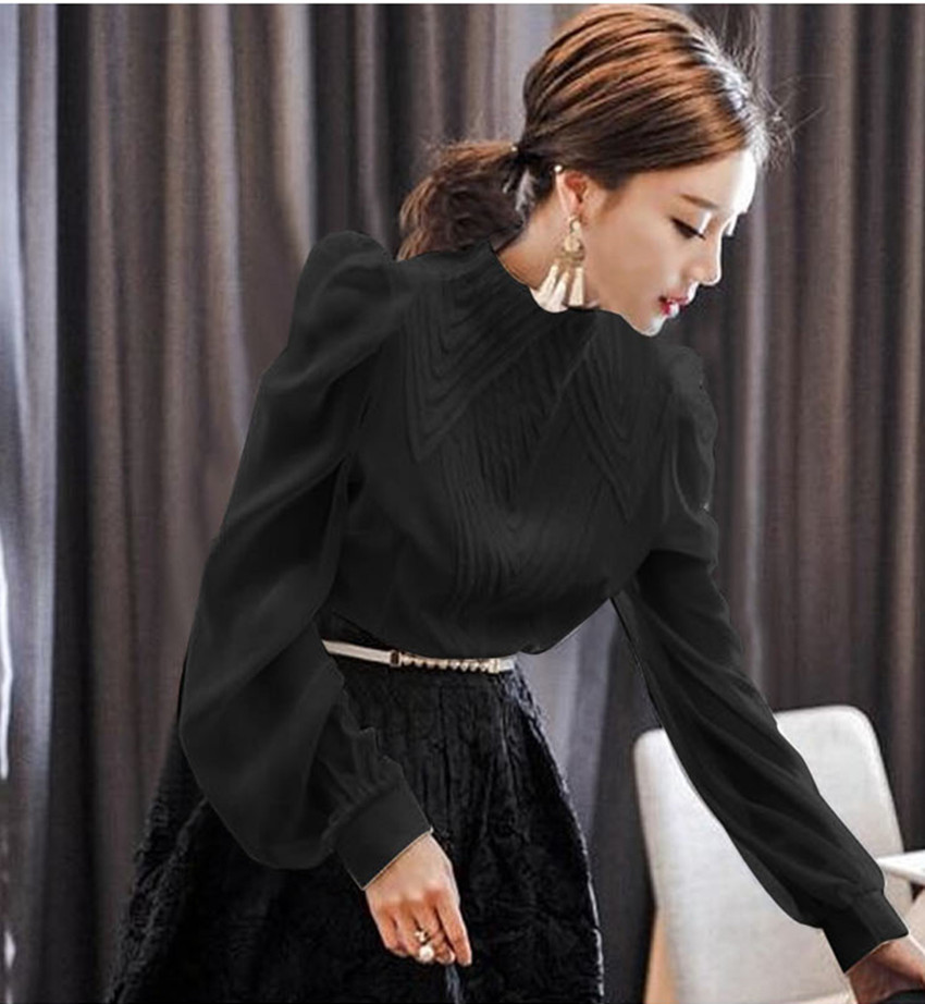 De Blusas Negro Camisa Otoño Runway blanco Trabajo Moda 2018 Jsxdhk Blusa Oficina Manga Stand Collar Mujer Primavera Tops Gasa Blanco Linterna qaFfWZUpF