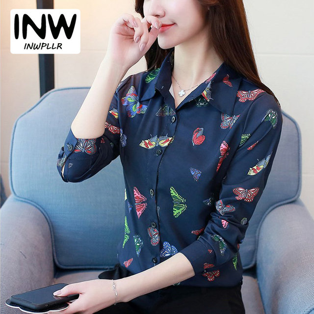 c6db19462 2019 nuevo Otoño de manga larga Blusa de gasa de oficina ropa de trabajo mujeres  Tops