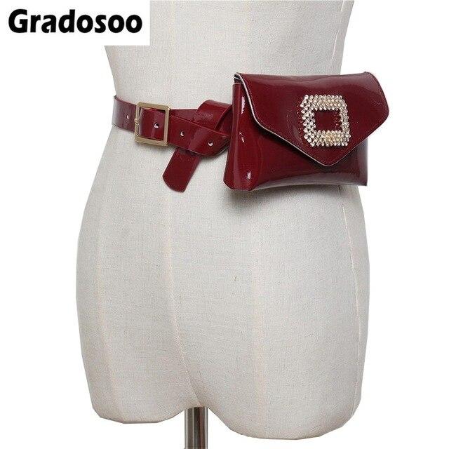 Gradosoo Couro Bloco de Fanny Cinto Pacote de Cintura Fêmea Luxo Diamantes Quadrados Mulheres Street Fashion Bolsa de Telefone Saco LBF378