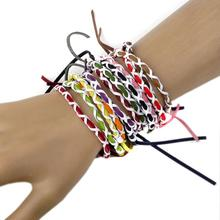 12pcs Wholesale Handmade Vintage Braided Leather Bracelet Adjustable Lots Mix Friendship Charm Jewelry For Women Girls