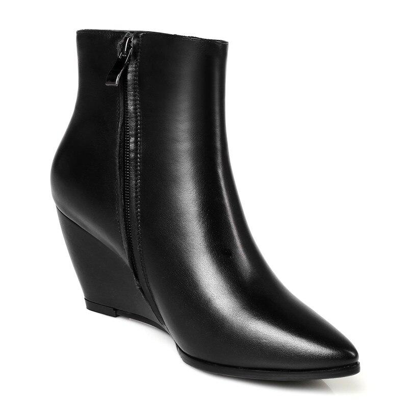 Asumer خريف شتاء جديد وصول المرأة الأحذية أزياء سوداء سستة أشار تو أسافين جلد طبيعي الكاحل زائد الحجم 32 45-في أحذية الكاحل من أحذية على  مجموعة 3