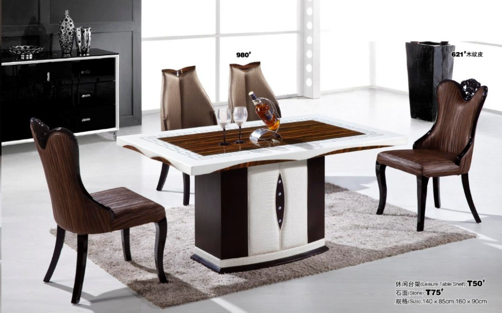New design modern marble top dining table for dining room for Marble dining room table