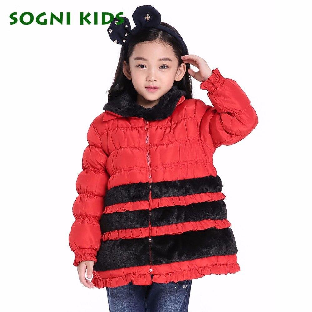 SOGNI KIDS Girls Clothes Fur Collar Warm Down Coats Brand Children Down Jackets For Girls