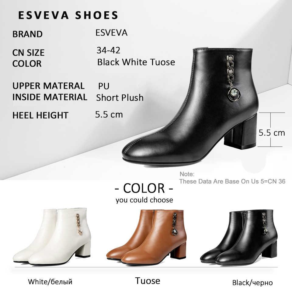 ESVEVA 2019 Kadın Botları Batı Tarzı Sonbahar Ayakkabı Kare Yüksek Topuklu Kristal Yuvarlak Ayak Çizmeler Kadın yarım çizmeler Düz Ayakkabı 34 -43