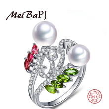 [MeiBaPJ]Phoenix Tail 925 sterling silver ring freshwater pearl jewelry top quality adjustable ring for women with gift box