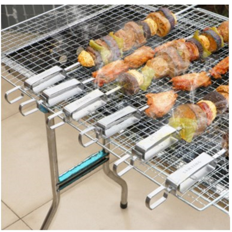 Campfire Grill Dtainless Steel Grilling Kabob Kebab Flat Skewers Reusable Barbecue Fork