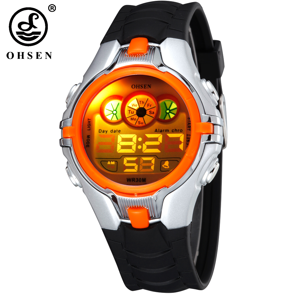Digital Watches 2019 Latest Design Ohsen Brand Boys Girls Kids Children Digital Sports Watches Alarm Date Stopwatch 7 Multi-color Led Light Rubber Strap Wristwatch Beautiful And Charming Back To Search Resultswatches