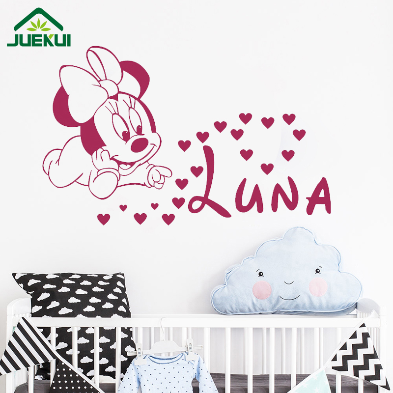 Diy Minnie Mouse Personalized Name Vinyl Wall Decal