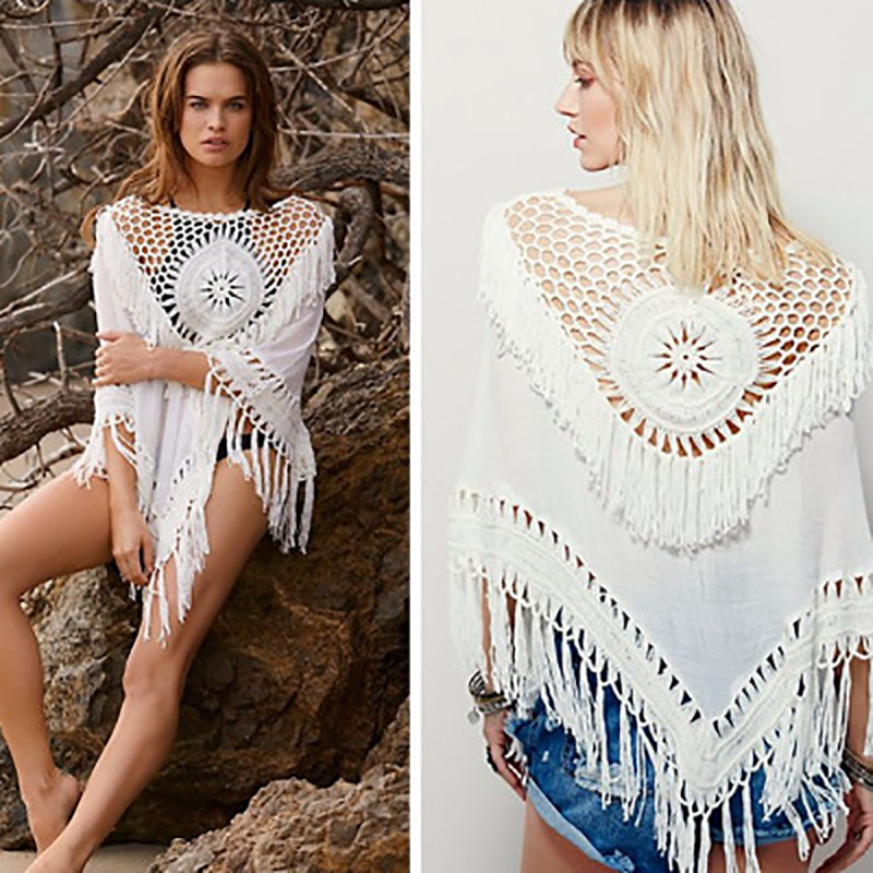 European beach hook fringed women sexy white lace   blouse     shirt   Women tops elegant hollow cotton   blouse   Summer tops female   blouse