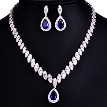925 Sterling Silver Platinum Plate Luxury Diamond Women Wedding Jewelry Set Red/Green/Blue/White CZ Drop Earring Choker Necklace 2