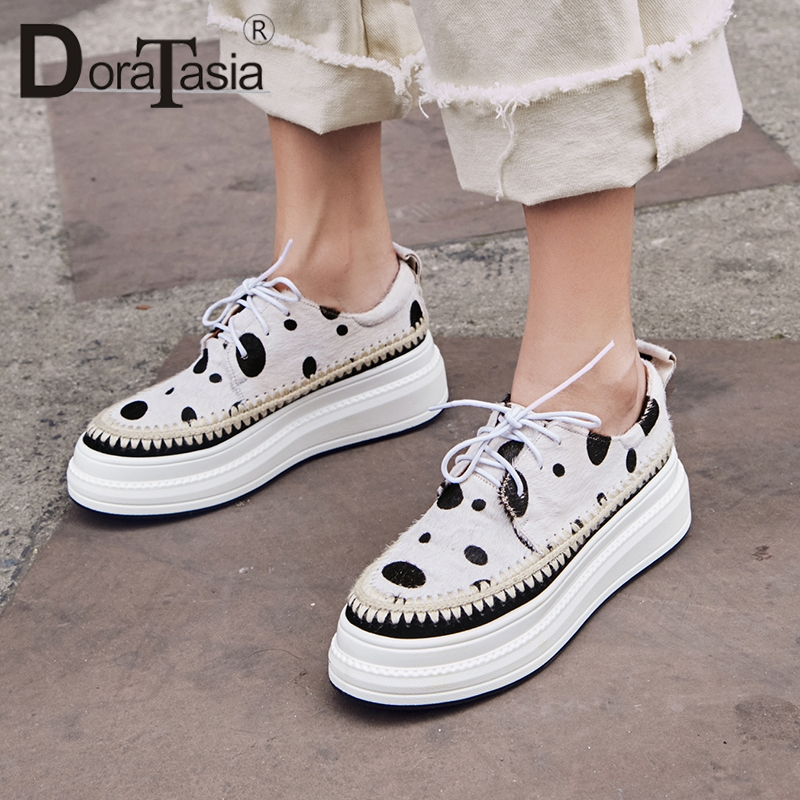 DoraTasia Spring New Horsehair Sneakers Women 2019 Polka Dot Platform Shoes Woman Girl Casual lace-up FlatsDoraTasia Spring New Horsehair Sneakers Women 2019 Polka Dot Platform Shoes Woman Girl Casual lace-up Flats
