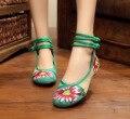 Bordado de la manera de Las Mujeres Zapatos de Los Planos de Estilo Chino Antiguo Pekín Mary Janes High Top Casual 4 Colores de la Danza Zapatos de Tela SMYXHX-10141