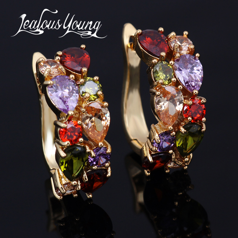 Hot Multicolor Fashion Jewelry Mona Lisa AAA Quality CZ Luxury Colorful Crystal Stud Earrings For Women Party Girl Gift AE199