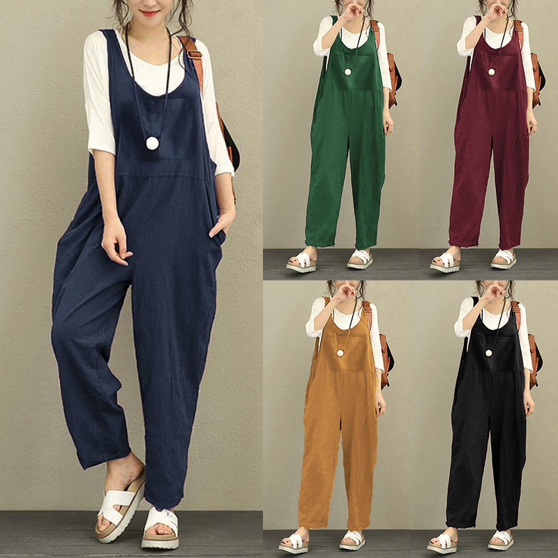 Oversized Women Linen Jumpsuit Celmia 2018 Summer Vintage Solid Romper Sleeveless Pockets Casual Loose Trouser Plus Size Overall