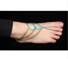 FD767 Sexy Beautiful Fashion Toe Slave Bracelet Foot Chain Sandal Turquoise Bead Ankle 1PC