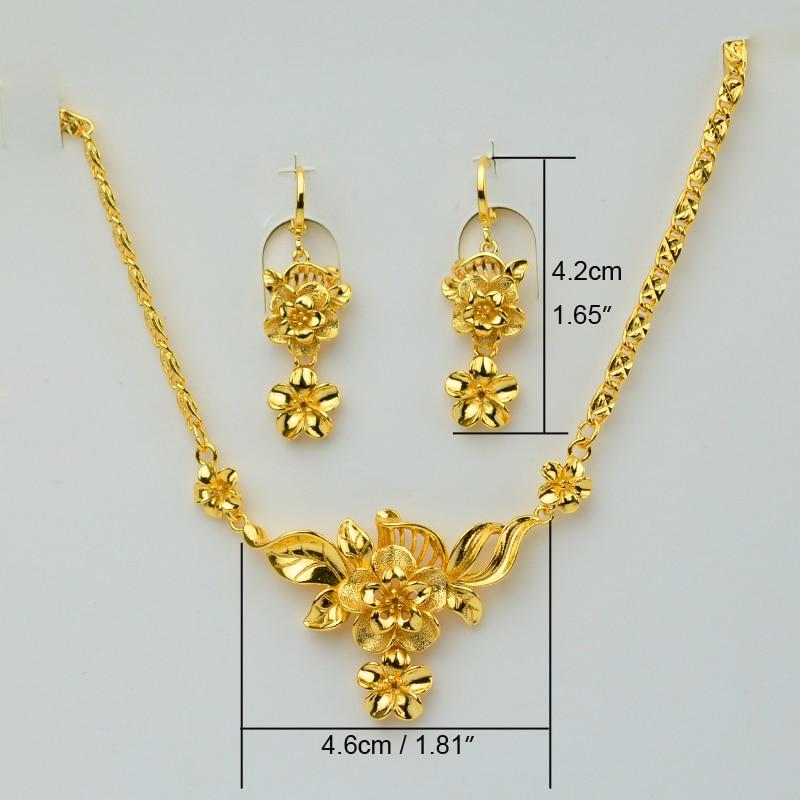 Aliexpress Buy Anniyo Flower Sets Jewelry Gold Color 46cm 18