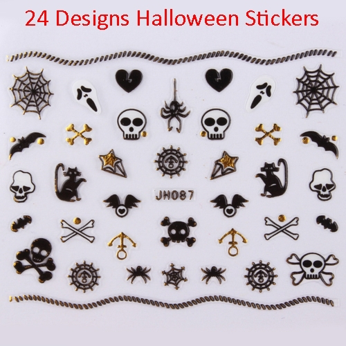 24 designs gold 3d halloween nail art stickers diy decals skull web ghost cat witch free shipping