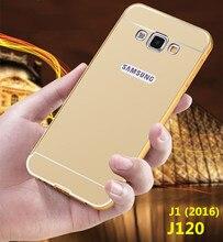 Новый Чехол Для Samsung J120 J1 (2016) J120F Бампер Золотой покрытие Алюминиевая Рама + Зеркало Акриловые Обложка SM J120Case(China (Mainland))