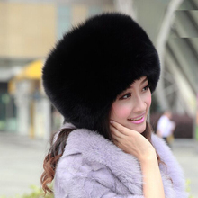 2016 100% Fox Fur Hats &Caps For Women Winter Natural Fox Fur Skullies Beanies Winter Warm Hats Adjusted  Caps Handmake