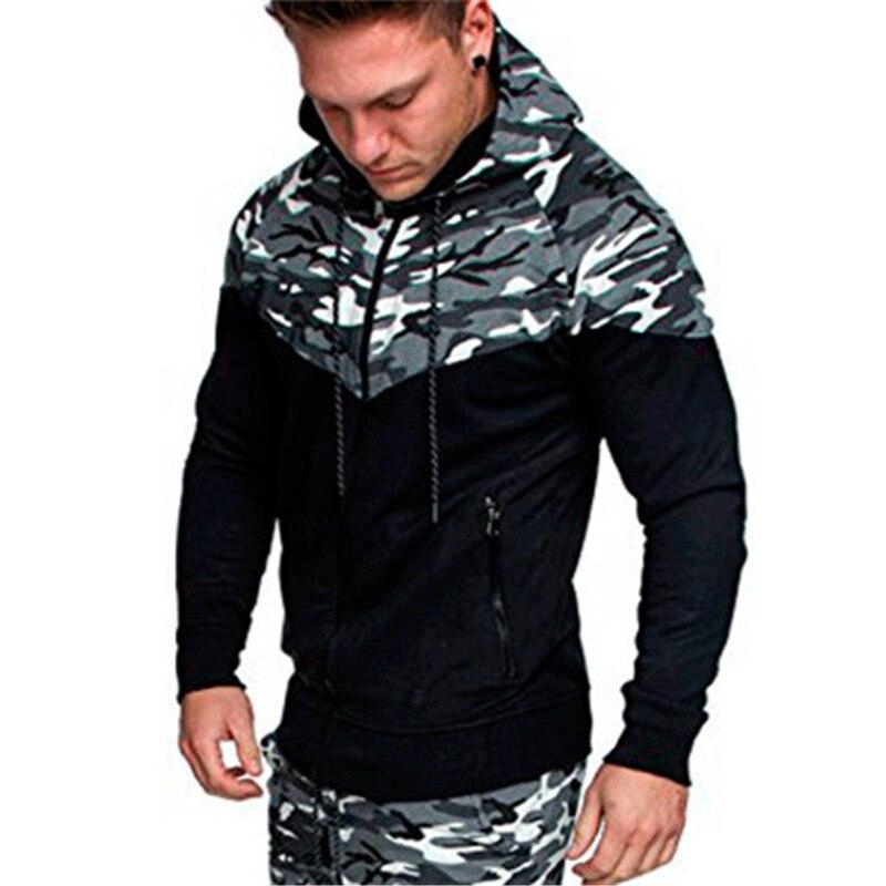 Camouflage Patchwork Cardigan Men Zipper Hoodies Sweatshirts Pull Homme Hiver Sueter Hooded Sweat Coats Sweat shirt 3XL
