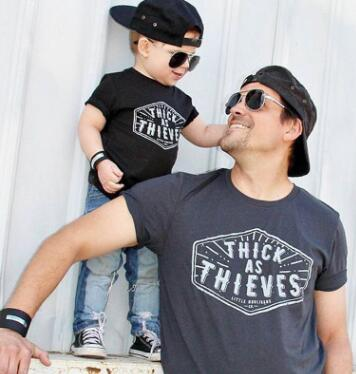 6112e9be06d Father s Day family matching outfits letter shirts father and son clothes dad  and me Thick is Thieves family look T- shirt