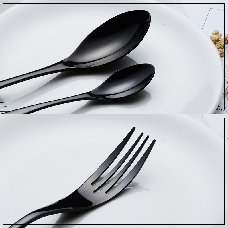 24 Pieces Shiny Black Dinnerware Cutlery Set 18 10 Stainless Steel Sharp Dinner Knives Forks Scoops Tableware Set in Dinnerware Sets from Home Garden