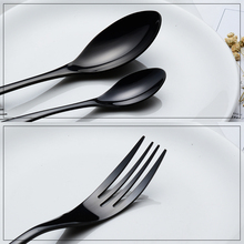 24 Pieces Shiny Black Dinnerware Cutlery Set 18/10 Stainless Steel Sharp Dinner Knives Forks Scoops Tableware Set
