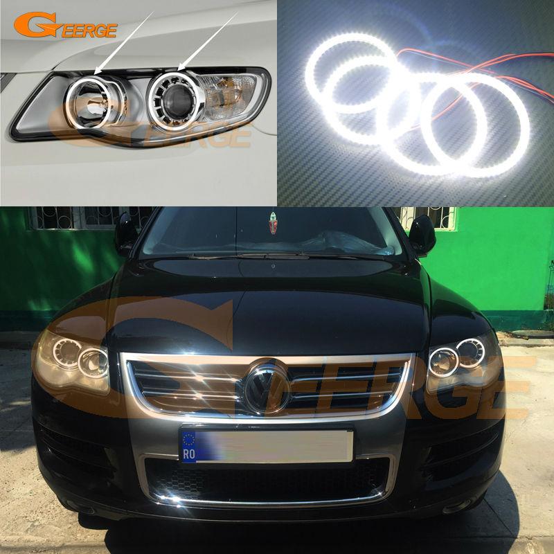 Для Volkswagen Фольксваген туарег 2008 2009 2010 Галогенные фары отличные светодиодные глаза ангела Ультра яркий SMD из светодиодов Ангел глаза комплект