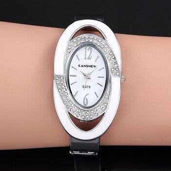Creative Watch Women Oval Dial Rhinestone Quartz Bangle Clock Full Steel Analog Saats Hot Relogio Feminino