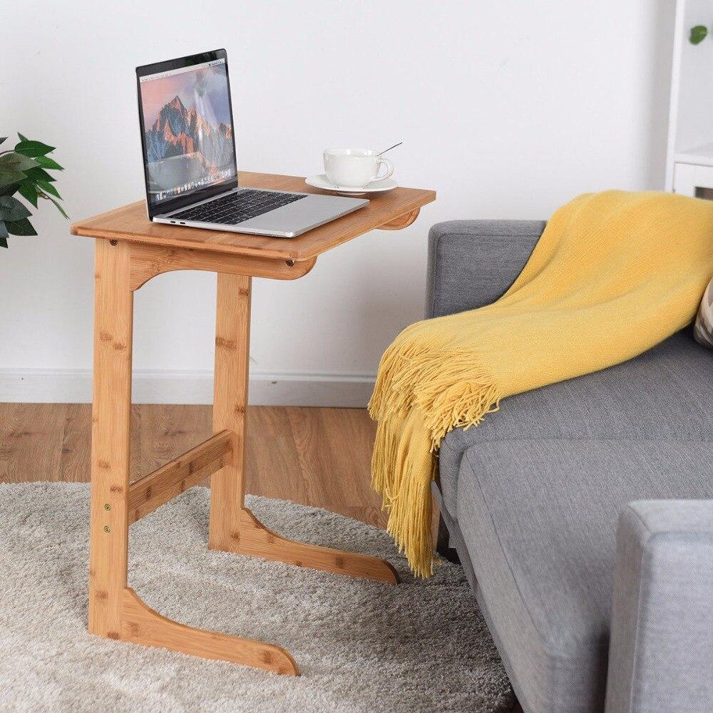 Giantex Bamboo Sofa Table Laptop Desk