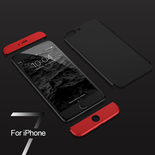 iPhone 7 8 Plus Phone Case For iphone 5 X 6 6 Plus Case 3 in 1 360 Full Protective PC Phone Cases Phone Accessories