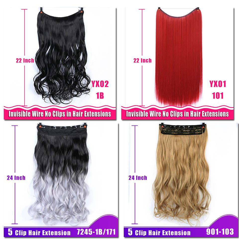 AOSIWIG 24-tums lång vågig klämma i hårförlängningar 5 clips en - Syntetiskt hår - Foto 6