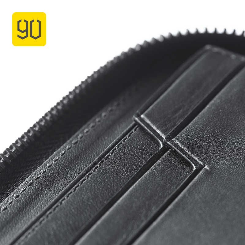 90FUN Concise Affari Casual Raccoglitore Lungo Safiano Del Cuoio Genuino Per L'uomo Xiaomi Originale Eco-catena