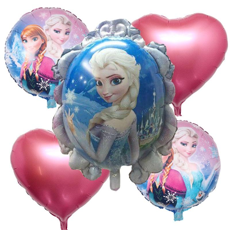 5pcs Cartoon princess foil Balloons globos inflatable toys happy Birthday balloo